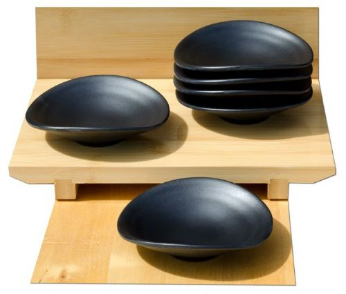 Black sophisticated dishes melamine x6 – Melamine plastic